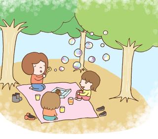 春。公園。シャボン玉。